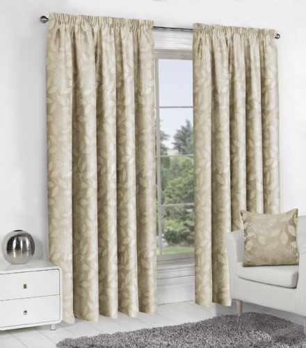 CREAM JACQUARD DESIGN LINED PENCIL PLEAT STYLISH FLORAL LEAF LUXURY MODERN CURTAINS